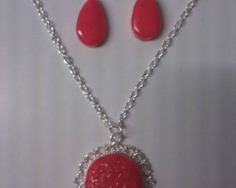 Pendant and Earring Set red earrings made of polymer clay
