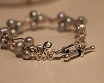 Fresh water pearl silver bangle