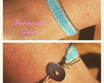 IZAR miyukis silver and turquoise wrap bracelet