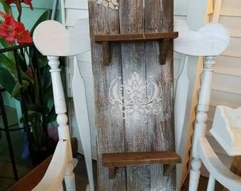 Rustic reclaimed pallet shelf, bathroom shelf, decorative shelf, kitchen rack, wood shelf, wall shelf, display shelf, picture shelf