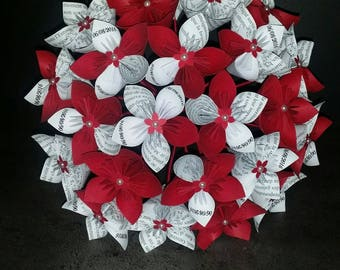 Example set 23 origami dark red paper Flower Bouquet and white writing with boutonniere