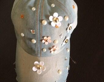 Embellish flower bead pearl denim baseball cap