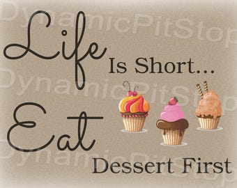 40x30cm Eat Dessert Quote Funny Tin Sign