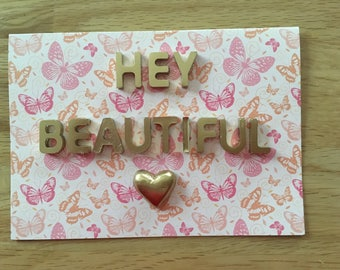 Hey Beautiful Greeting Cards Gifts Cards 3D
