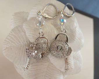 """Key and lock"" earrings, micro cubic zirconia and swarovski crystal, silver color. ""Key and lock"" earrings."