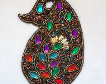 large fabric applique leaf with multicolored sequins