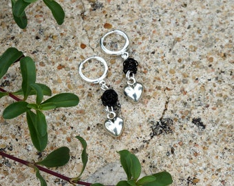 Earrings with black beads and silver heart