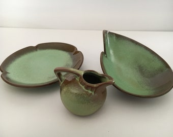 Vintage Set of 3 Frankoma Pottery Ashtray, Mini Creamer and Dessert Plate Plainsman Prairie Green