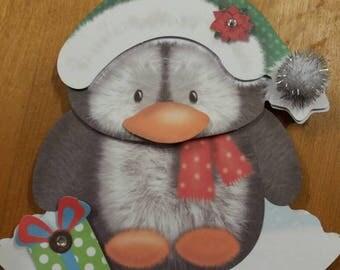 """Penguin 3D """"rocker"""" Christmas card - Carte 3D Pingouin """"basculante"""" faite main"""