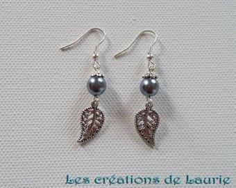 Fantasy dark gray and silver leaf earrings