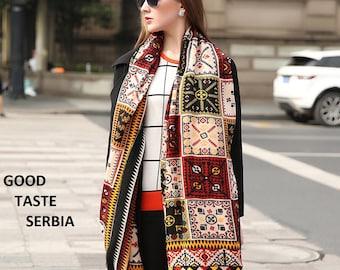 Poncho Black Brown Scarf Pashmina Shawl Cashmere Scarf Oversized Wool Scarves Geometrical Womens Scarf Hijab Bandana Bohemian Winter Wrap