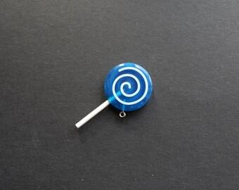 Sweet lollipop blue resin pendant