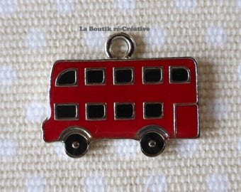 1 x Red Bus charm pendant enameled London