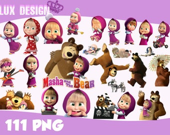 111 Masha and the Bear ClipArt- PNG Images 300dpi Digital, Clip Art, Instant Download, Graphics transparent background Scrapbook