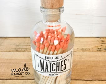 Coral Tip Colored Matches. Match Sticks Decorative Glass Bottle. Farmhouse Home Decor. Unique Gifts for her. Best Seller Most Popular Item