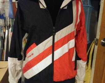 Vintage Adidas Windbreaker. 1980's 1990's Adidas Men's Track Jacket. Jacket/windbreaker. Adidas Jacket.
