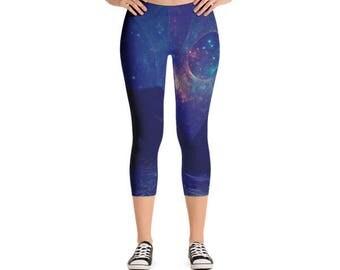 Galactic Ancient Pyramid In Sea / Space Womens Cute Athletic Yoga Black Micro Fiber Fitness All Over Printed Capri Leggings