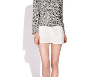 Brynn Raw Silk Shorts/ Cream White