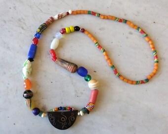 Ethnic necklace African agate, ceramic, glass blocks, bauxite, ebony