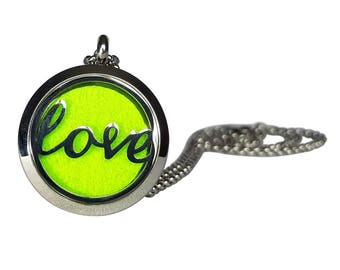 """Stainless Steel """"Love"""" Essential Oil Necklace"""