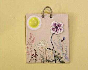Handmade ceramic sunny wildflower meadow picture