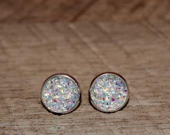 Rainbow Clear Druzy Earrings