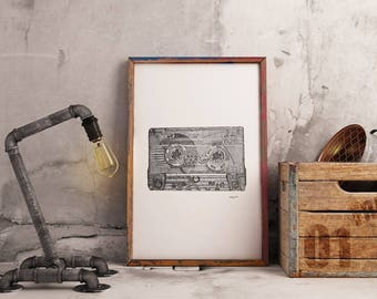 A4 Black and white print of vintage cassette tape