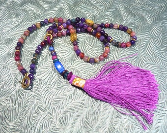 Agates and purple Chinese tassel necklace