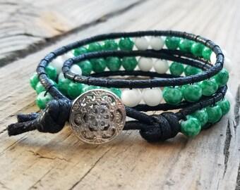 Glass bead double wrap bracelet