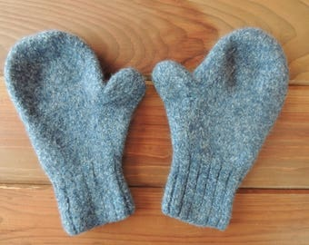 Felted Wool Mittens - Hand Knit - Blue