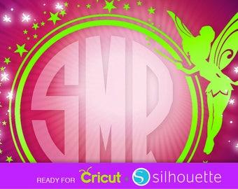 SVG TINKERBELL SVG Tinkerbell monogram circle border frame Fairy svg Disney svg Cut Files for Cricut Silhouette clipart Dxf