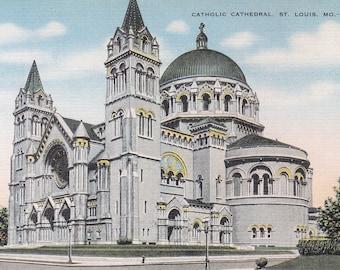 St. Louis, Missouri Vintage Postcard - Catholic Cathedral, St Louis Archdiocese, Cathedral Basilica of Saint Louis