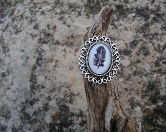 """Plume"" antique silver cabochon ring"