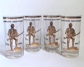 4 Culver Minutemen Commemorative Highball Glasses 1970's