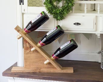 Rustic Wine Rack | Wine Rack | Tabletop Wine Rack | Wood Wine Rack | Wine Storage | Handmade Wine Rack | 3 Wine Bottle Rustic Display