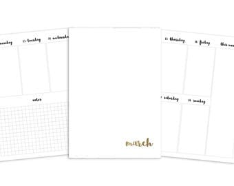 B6 March Weekly Printable Insert - TN - Plain Cover