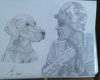 A soldier and his weimaraner dog
