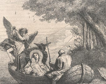 The Flight to Egypt 1868 - Old Antique Vintage Engraving Art Print - Mother, Baby, Smiling, Man, Angel, Oar, Stick, Boat, Water, Rowing