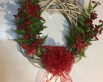 Red floral willow wreath