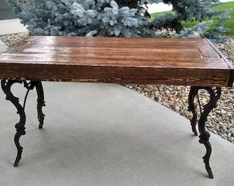 Lovely Custom Table From Reclaimed Oak And Pine. Antique Florence Sewing Machine  Legs.