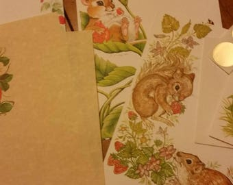 Vintage Stationery Collection ~ Strawberries and Forest Friends