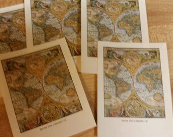 Vintage Antioch Book Plates - Atlas Map of the World  - Set of 5 Bookplates
