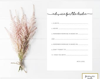 Advice For The Bride Instant Download, Printable, Bridal Shower Games Printable, Bridal Shower Printable Games, Games For Bridal Showers