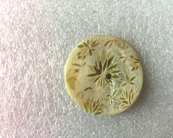 Finely engraved mother of Pearl button flower yellow Japan stunning decor piece...
