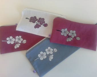 """""""Flowers"""" hand painted linen clutch/pouch"""