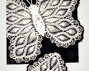 PDF Crochet Pattern, Butterfly Antimacasser Chair Set , with Arm Rests