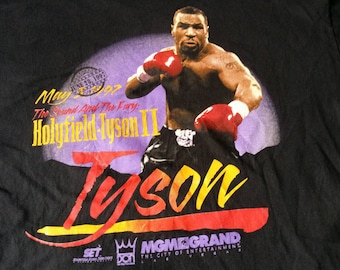 Rare Vintage distressed 90's Authentic Mike Tyson vs. Evander Holyfield II Merch Tee  boxing promo t shirt
