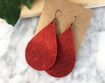 Red Leather Teardrop Earrings, Genuine Leather, Leather Earrings, Leather Jewelry, Teardrop Leather Jewelry, Statement Earrings, Lightweight