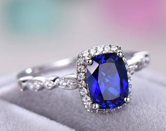 Lab Blue Sapphire Engagement Ring 925 Sterling Silver White Yellow Rose Gold Diamond CZ Cubic Zirconia Halo Marquise Wedding Band Milgrain