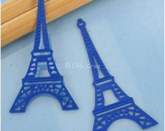 2 filigree prints - EIFFEL Tower - Max size 17 x 38mm - blue # M39